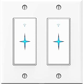 Double Smart Switch that Work with Alexa, Google Home, IFTTT, Voice and Wireless Control, 2.4G WIFI Only, Schedules and Timers, Single-Pole, No Hub Required, Neutral Wire Required, 2 Gang
