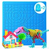3D Printing Pen Mat, Silicone Design Mat with Basic Template and 2 Silicone Finger Caps, Great 3D Pen Drawing Tools for Kids and 3D Pen Artists, Blue