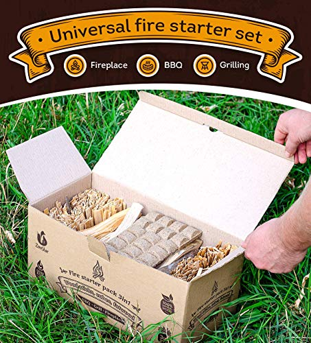 Fire Starters Box: kindling Wood Sticks + fire Starter logs (Similar fatwood) + Fat Wood Squares for Camping - Wood… 4