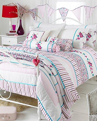 Riva Paoletti Appleby Bedspread - Eisvogel Blau, Pink und White - Blumenstreifen und Tupfen-Muster - Maschine waschbar - POLYCOTTON Cover - 240 x 260 cm (94