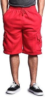 G-Style USA Men's Solid Fleece Cargo Shorts DFP1 - RED - Medium