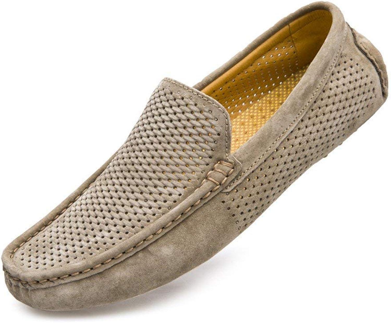 Fuxitoggo Herren Mokassins Schuhe, Mnner Leichte Halbschuhe Hohlen Oberen Echtleder Stiefel Mocassins (Farbe   Khaki, Gre   42 EU)