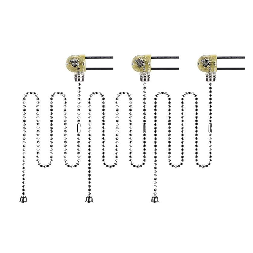 義務的集中更新uxcell プルチェーンスイッチ 50 cmクロームプルチェーン付き 2線式ファンライトスイッチ 3個入り