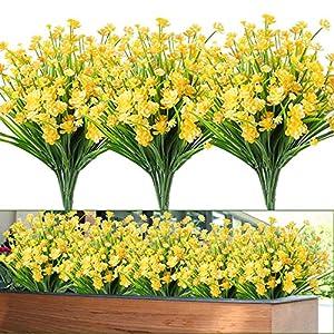Whonline 12pcs Artificial Flowers Plastic Outdoor UV Resistant Shrubs Plants for Garden Wedding Farmhouse Indoor Outdoor Decor(Yellow)