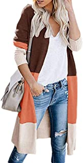 Womens Fashion Open Front Sweater Long Sleeve Color Block Knit Kimono Cardigans