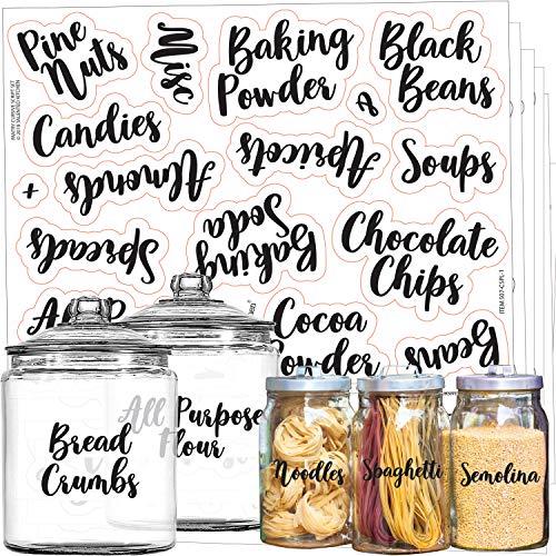 Talented Kitchen 135 Cursive Pantry Labels – 135 Main Ingredients – Food Pantry Label Sticker. Water Resistant Food Jar Labels. Jar Decals Pantry Organization Storage (Set of 135– Main Cursive Pantry)