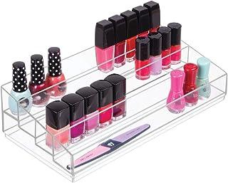 mDesign Organizador de maquillaje – Caja transparente con 4 compartimentos - Ideal para guardar maquillaje y cosméticos, como organizador de labiales, etc. – Plástico transparente