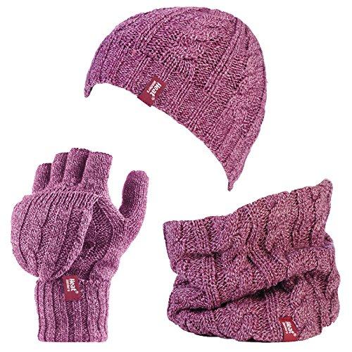 HEAT HOLDERS - Damen-Thermo-Fleece Kabel Wollmütze, Nackenwärmer und Converter Handschuhe Satz (Rosa)