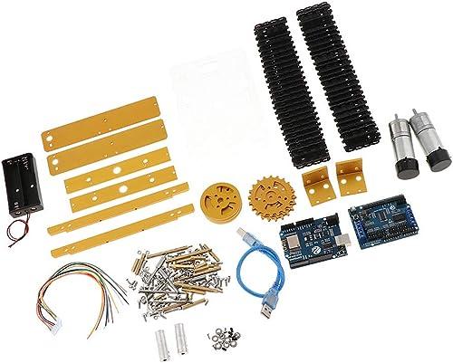 B Blesiya Wifi Roboter Modell Bausatz inkl. Chassis + Motore + Laderad + Antriebsrad + Halterung usw, aus Legierung - Golden