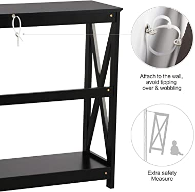 Yaheetech 2 Tier X-Design Occasional Console Sofa Side Table Bookshelf Entryway Accent Tables w/Storage Shelf Living Room Ent
