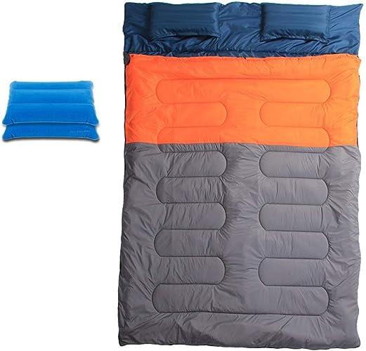 Produits d'extérieur Cadeau 2 oreiller gonflable Couple bleu   Orange Double sac de couchage élargi épais Camping chaud en plein air Déjeuner intérieur Adulte Double sac de couchage en coton , abordab
