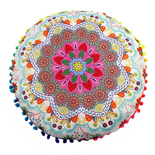 Funda Cojines, Xinan Cojines Redondos de Bohemian Cushion Indian Mandala Floor Pillows 43 * 43cm (D)