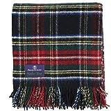 Prince of Scots Highland Tartan Tweed 100% Pure New Wool Fluffy Throw (Black Stewart)