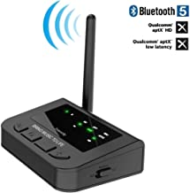 Friencity Long Range Bluetooth Transmitter Receiver for TV PC, Audio Pass-Thru Wireless Aux Adapter with AptX HD & Low Latency, Dual Link, Digital Optical 3.5mm RCA, Always on Plug & Play