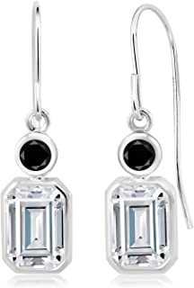 925 Sterling Silver Dangle Earrings Forever Brilliant (GHI) Emerald Cut 2.00ct (DEW) Created Moissanite by Charles & Colvard and Diamond