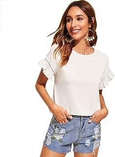 Women's Short Sleeve Ruffle Trim Contrast Lace Cotton Summer Blouse Top