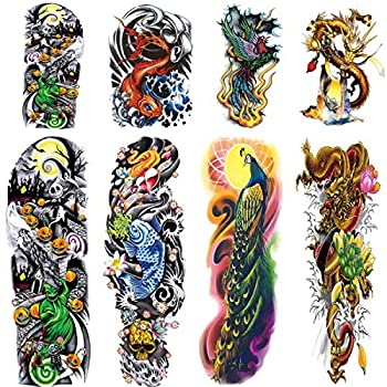 4 Sheets Large Temporary Tattoos Sleeve Full Arm Tattoo Sticker and 4-Sheet Half Arm Fake Tattoos Nights Nightmare Before Christmas Snake Peacock Dragon Tattoos Sleeve Body Art Makeup