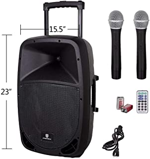 PRORECK Freedom 12 Portable 12-Inch Woofer 500 Watt 2-Way Powered Dj/PA Speaker with Bluetooth/USB/SD Card Reader/FM Radio/Remote Control/Wireless Microphones (12 INCH Speaker)