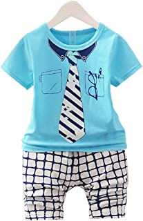 Hopscotch Boys Polycotton Tshirt and Pant Set in Blue Color for Ages 12-24 Months