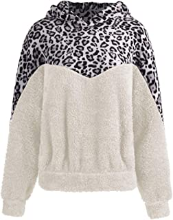 Women's Contrast Leopard Print Round Neck Long Sleeve Casual Pullover Tops Blouse Oversized Sherpa Hooded Sweatshirt