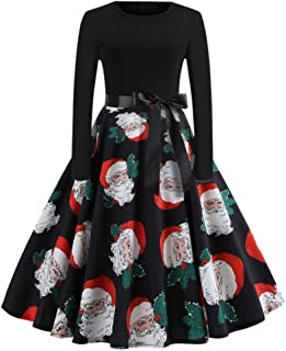 Vintage Printed Long Sleeve Party Prom Midi Dress Cocktail Evening Swing Dress