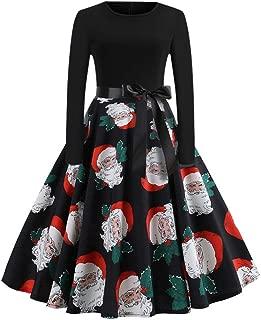 GOWOM Women Fashion Christmas Print Dress Round Neck Zipper Hepburn Party Dress