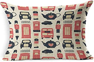 Ahawoso Linen Throw Pillow Cover King 20x36 Pot Cloud Taxi British Vintage United Pattern London Union Jack Tea Soldier Booth England Mail Cup Distressed Pillowcase Home Decor Cushion Pillow Case