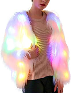 Heyean Led Fur Coat for Women Rainbow Sparkly Light Up Warm Fashion Jacket White Furry Rave Party Costume Outwear S-3XL