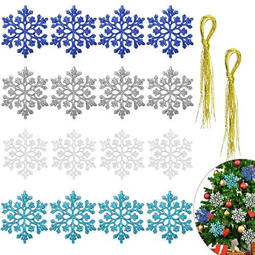 DECARETA 24 Pezzi Fiocchi di Neve con Glitter Addobbi per Albero di Natale ,Fiocchi di Neve per Natale, Fiocchi di Neve Decorativi, Ornamento di Albero di Natale Idea per Addobbare l'albero