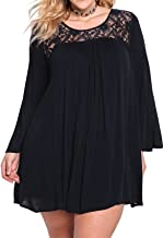 Arctic Cubic Plus Size Long Sleeve Floral Lace Spliced Pleated Mini Swing Trapeze Maternity Smock Dress Black