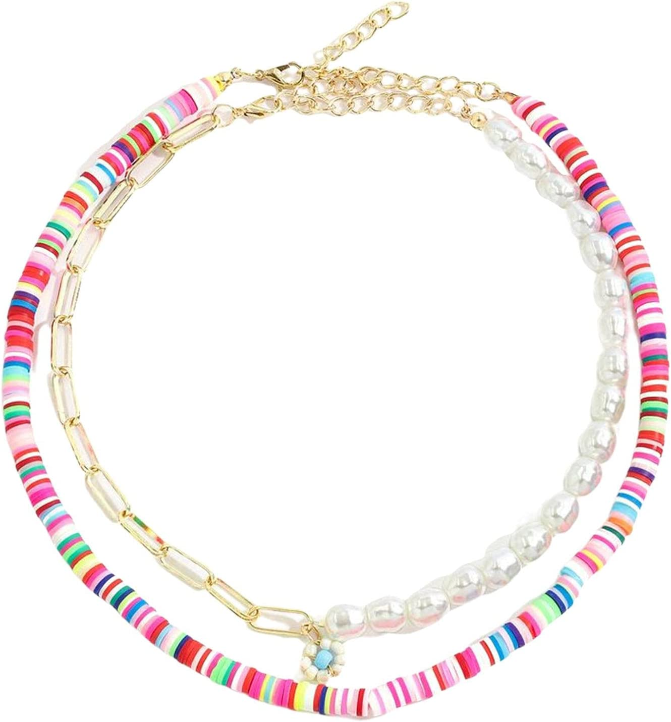 ERZU Boho Smile Layered Beaded Necklaces with Strand Bracelet, Smile Face Star Fruits Flowers Heart Shape Beads Pearl Stackable Collar Necklace Anklet for Women Girls Vsco Summer Beach Trip