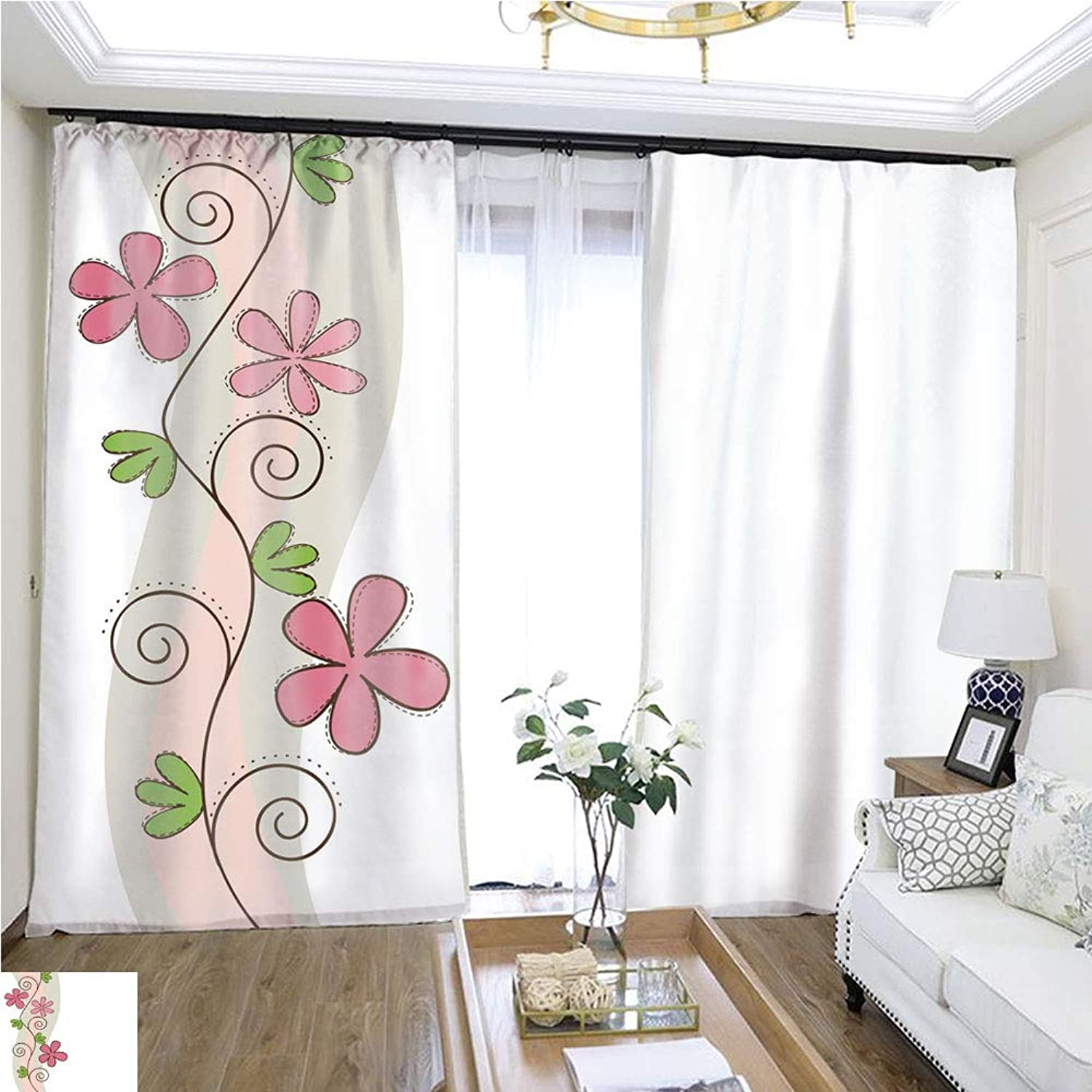 Air Port Screen Cute Flower W108 x L86 Block The Sun Highprecision Curtains for bedrooms Living Rooms Kitchens etc.
