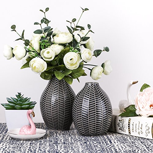TERESA'S COLLECTIONS Vasi in Ceramica, Set di 2 Vasi Decorativi Moderni Grigi Fatti a Mano per Soggiorno, Cucina, Tavolo, casa, Ufficio, Matrimonio, centrotavola o Come Regalo, 15cm e 14cm