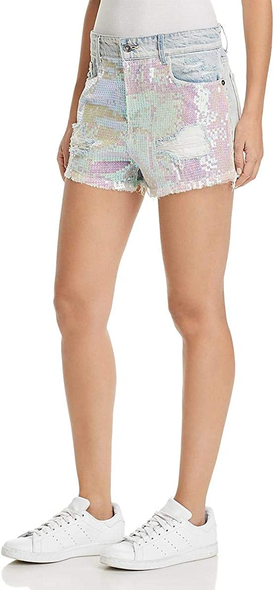 Sunset & Spring Womens Sequined Distressed Denim Shorts Blue 28