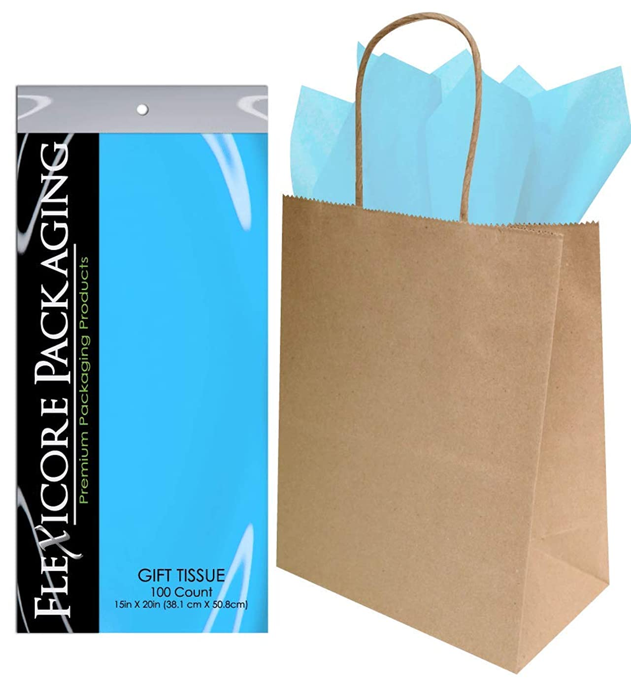 Flexicore Packaging? 50ct Natural Brown Kraft Paper Gift Bags + 100ct Gift Tissue Paper (Light Blue)