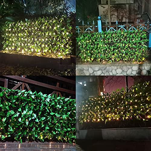 HMXBRIGHS Artificial Ivy Fence Screen, Expandable Fence Privacy Screen with 113 Solar LED String Lights Hedges Faux Leaf Privacy Fence for Home, Balcony, Outdoor Garden and Yard Decoration