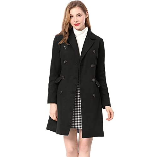 676d8ff01b7 Allegra K Women s Long Jacket Notched Lapel Double Breasted Trench Coat
