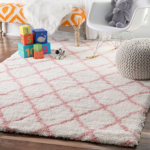 nuLOOM Soft and Plush Diamond Shag Area Rugs, 4' x 6', Baby Pink