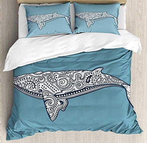 Juego de fundas nórdicas marinas, pez ballena étnico con símbolo de tótem Kitsch Paisley Imagen del patrón temático, juego de cama decorativo de 3 piezas con fundas de almohada, reina / completo, piza