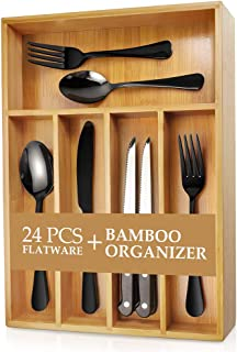 Teivio 24-Piece Silverware Set, Flatware Set Mirror Polished, Dishwasher Safe Service for 4, Include Knife/Fork/Spoon with Bamboo 5-Compartment Silverware Drawer Organizer Box, Black