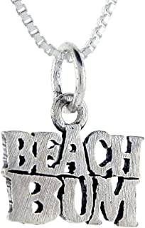 Sterling Silver Beach Bum Word Pendant, 1 inch Wide