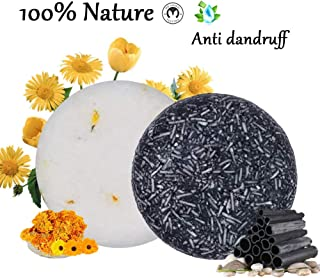 100% Natural Shampoo Bar for Hair 2 Pieces Solid Shampoo Soap for Treated Dry Damaged Hair Vegetarian Plant Essence Helps Stop Hair Loss and Promotes Healthy Hair Growth 4.2oz (Bamboo Charcoal)
