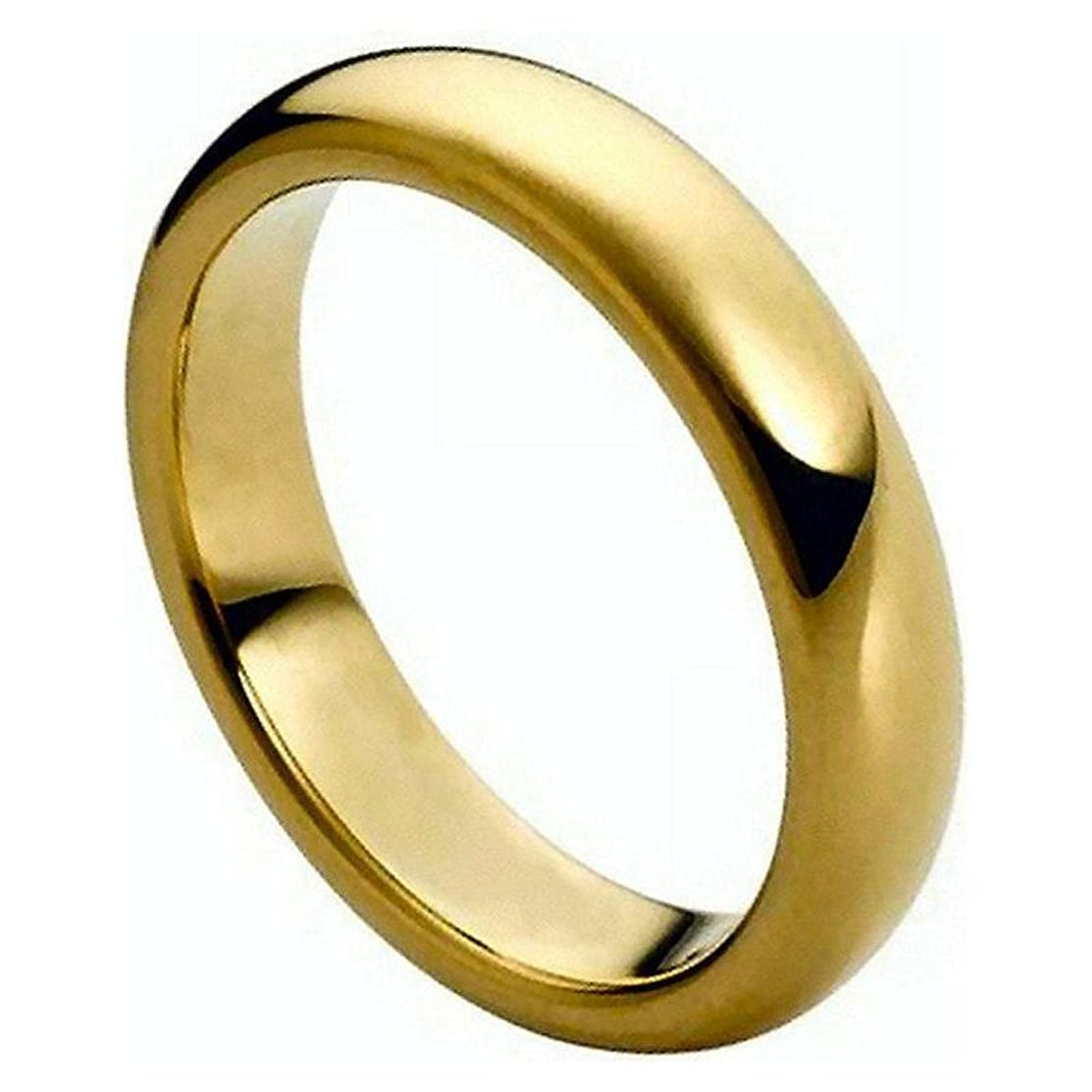 3mm 316L Stainless Steel 18k Plated Gold Polish Dome COMFORT FIT Wedding Band Ring Size 4-13