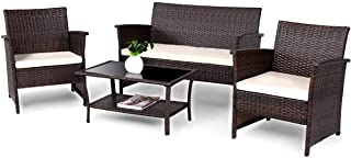 COSTWAY VD-57026HW 4 PCS Wicker Furniture Set, Brown