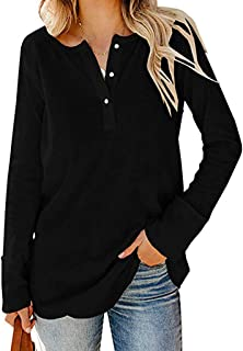 Women's Loose Solid Long Sleeve V-neck Button Blouse T-shirt Pullover Tops