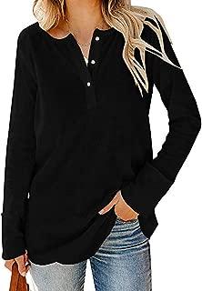 ANJUNIE Women's Loose Plain Long Pullover V-Neck Button Blouse T-Shirt Loose Tops Sweater Sweatshirt