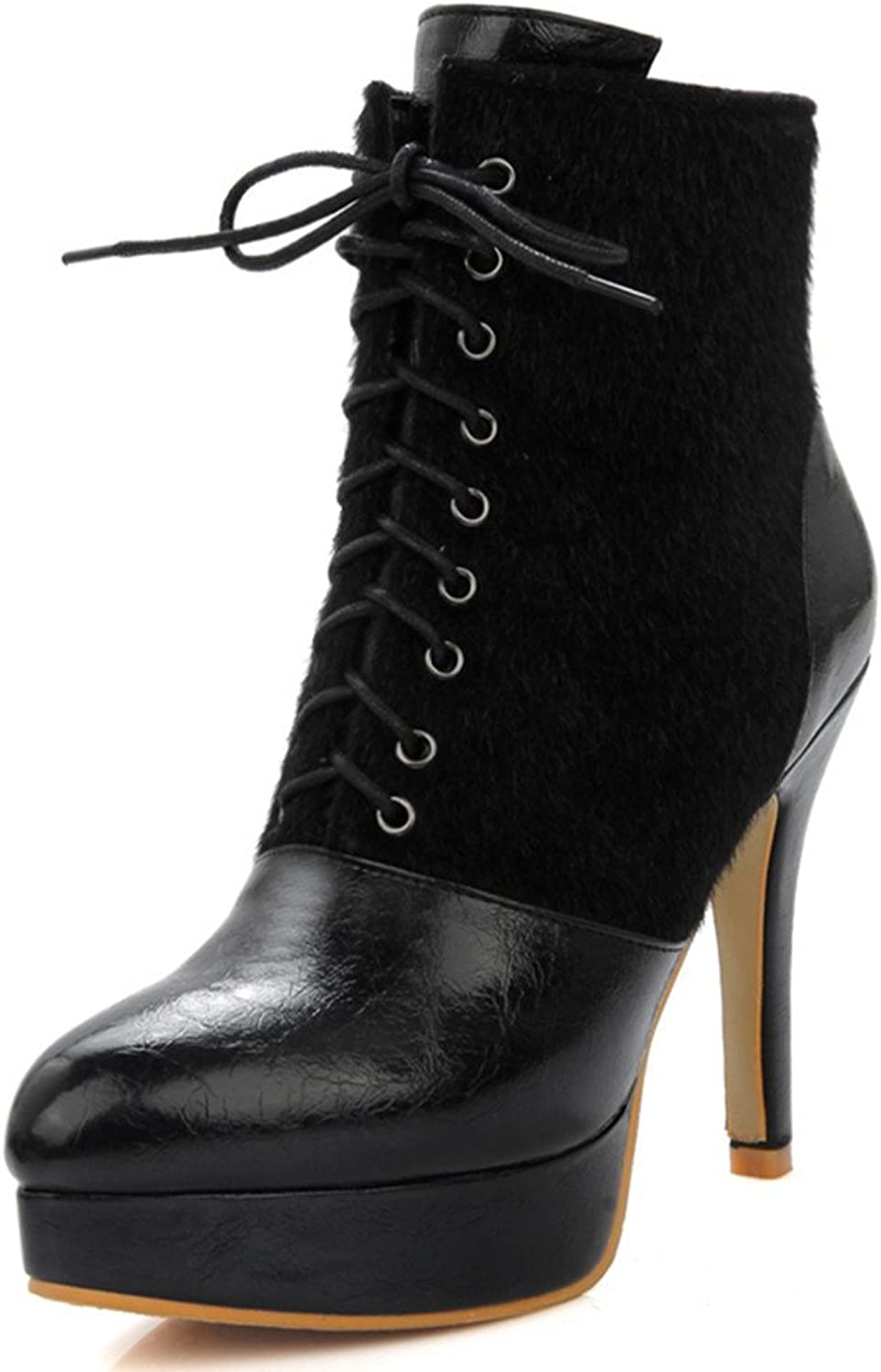 Fashion Heel Women's Stiletto Heel Pointed Toe Platform Lace Up Ankle Bootie