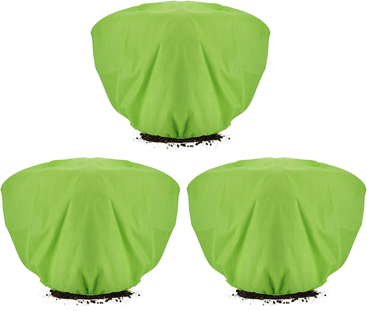 ANPHSIN 3 Pcs Green Plant Protection Covers- 39.3 × 19.6 Inch Horizontal Shrub Tree Plant Protection Wraps Covers Bags Frost Blanket with Drawstring for Outdoor Garden Plants Winter Freeze Protection