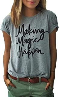 Haola Mujeres Moda Gris Causul impresión T Camisas Verano Divertido Tops