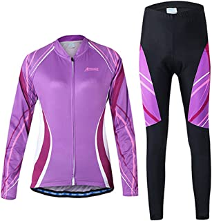 AUtopway Women's Compression Cycling Clothing Set Sportswear Suit Long Sleeve Slim Fit Bike Jersey Jacket Breathable Tights Bicycle Pants with 3D Padded